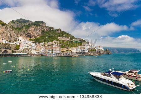 Beautiful Town Of Amalfi,front View, Amalfi Coast, Campania, Italy