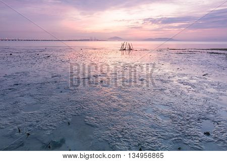 Beautiful sunrise view of seascape of George Town, Penang, Malaysia