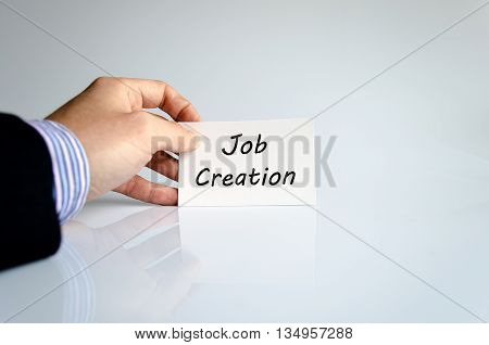 Job creation text concept isolated over white background