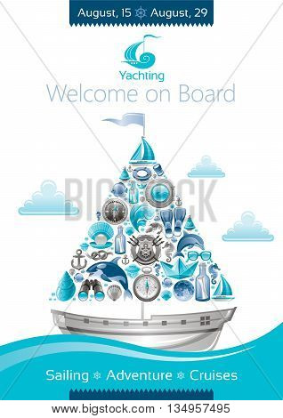 Sea summer travel banner invitation design with sail boat and icon set. Yachting coat of arms, compass rose, binoculars, killer whale