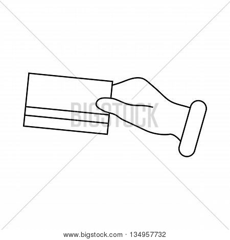 Hand holding a credit card icon in outline style on a white background