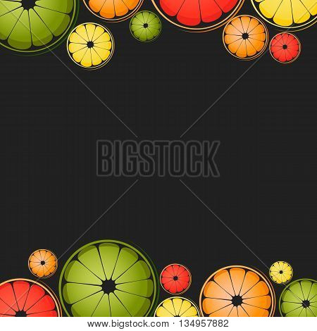 Vector background with different slice citruses (lemon lime grapefruit orange) on a black background. Space for text