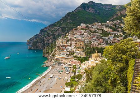 Beautiful Town Of Positano, Amalfi Coast, Campania Region, Italy