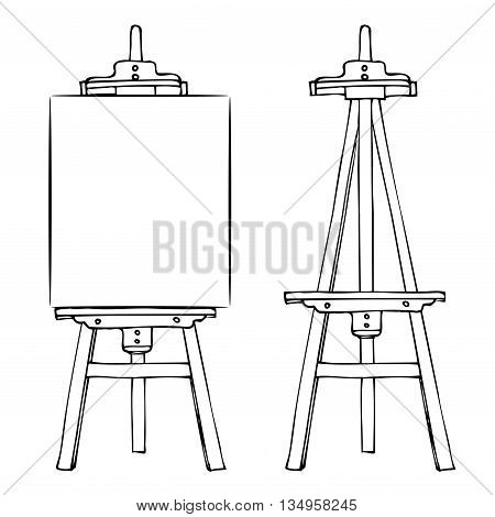 Wooden painting easel with blank canvas. Cartoon black white sketch style easel isolated on white background. Easel with vertical canvas and empty easel. Vector illustration stock vector