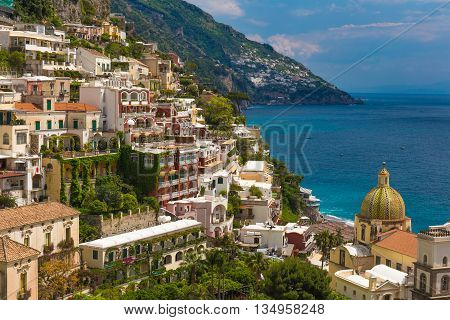 Beautiful Town Of Positano, Amalfi Coast, Campania Region, Italy