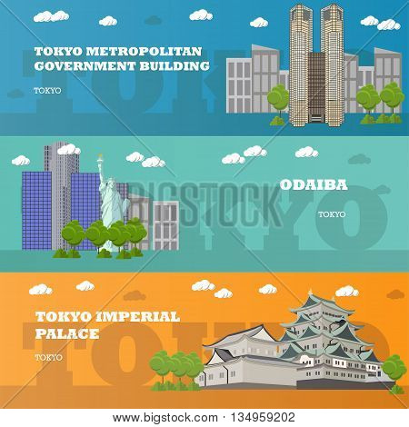 Tokyo tourist landmark banners. Vector illustration with Japan famous buildings. Travel to Japan concept.