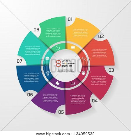 Vector circle infographic template for graphs charts diagrams. Pie chart concept with 8 options parts steps processes.