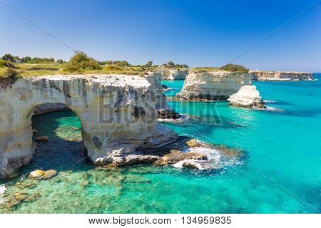 Torre Sant Andrea Cliffs, Salento Peninsula, Apulia Region, South Of Italy