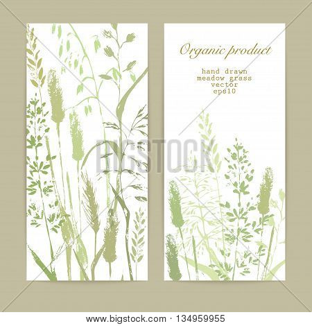 Vector design template. Meadow grass silhouettes in natural green colors. Organic product bio cosmeticks and eco nature background.