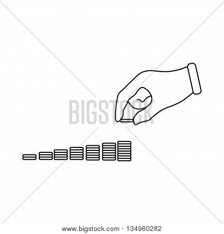 Hand put coins to stack of coins icon in outline style on a white background
