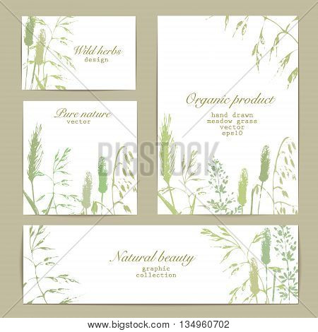 Vector design templates set with business card banner cover and flyer. Meadow grass silhouettes in green color. Organic product bio cosmeticks and eco nature background.