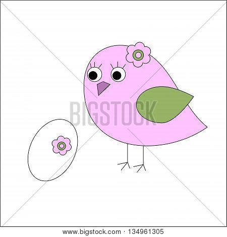 The bird with eggs and a flowers