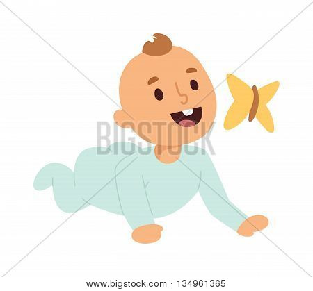 Happy laughing little baby kid and butterfly wearing blue colorful straw. Vector baby kid playing with flying butterfly having fun sunny day. Baby kid beautiful, happy child playing with butterfly.