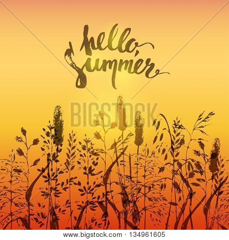 Summer design in warm red and yellow colors. Meadow grass silhouettes in the sunset light. Hello summer brush lettering.