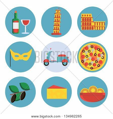 Set of Italy travel colorful flat icons, Italy symbols with long shadow for your design. Vector illustration.