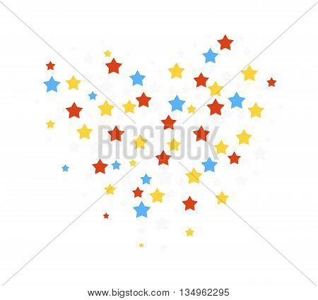 Abstract background with falling star-shaped confetti. Stars confetti decorative sparkle celebration design. Christmas paper ornament decorative pattern stars confetti. Stars shape glittering vector.