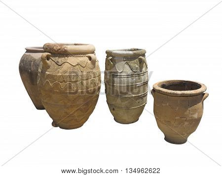 Ancient clay Minoan decorated amphora isolated over white