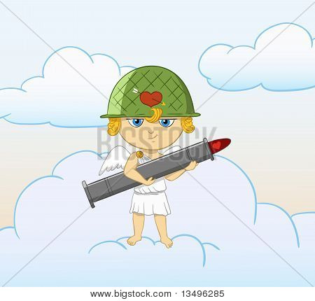 Cartoon Funny Cupid With Armed Valentine Bazooka