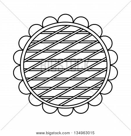 Berry pie icon in outline style on a white background