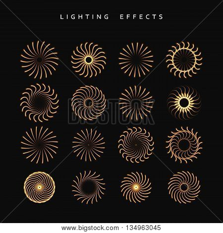 Set of lighting isolated effect. fireworks isolated. Round lighting effects. Magic, bright, brilliant patches of light. Effect for background and design. Light patches of light. Set of effects.