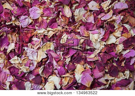 Dried Rose Petals In Shades Of Red And Pink