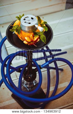 Colorful And Modern Hookah For Smoking And Leisure With Fruit