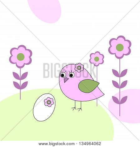 The pink bird with a white egg