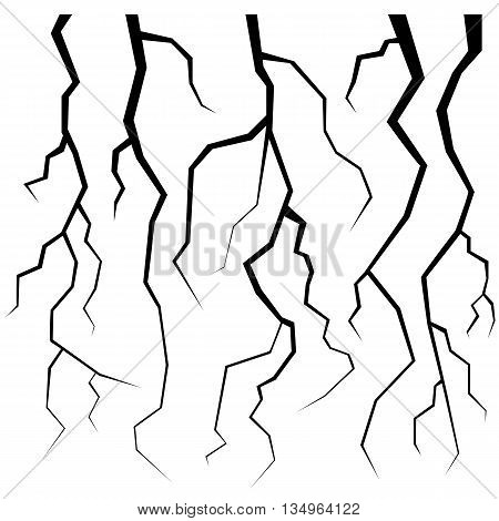 Set of Cracks for Disaster Design Isolated on White Background. Earthquake Failures. Movement of the Earths Crust