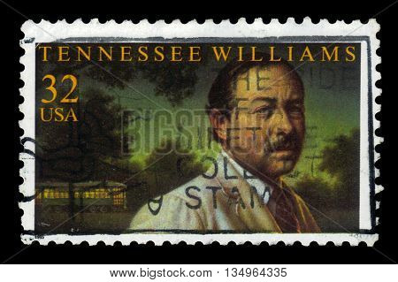 USA - CIRCA 1995: A stamp printed in USA shows Tennessee Williams, american playwright , circa 1995