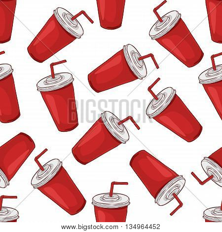 Seamless pattern cola cup scetch and color. Vector Background