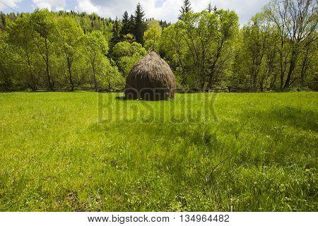 Haystack in Carpathian mountains in summer, Ukraine
