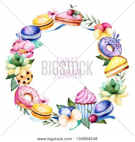 Colorful tasty wreath with peony, flower, foliage, succulent plant, branches, tasty cupcakes, pansy flowers, macaroons, donuts, cookies, ribbons, lemon and cherry cheesecakes, berries.
