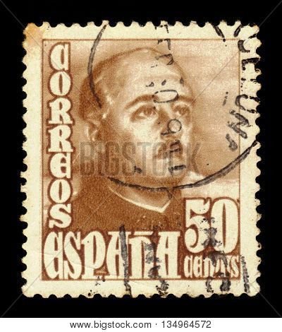 SPAIN - CIRCA 1948: A stamp printed in Spain shows a portrait of General Francisco Franco (1892-1975), brown, series
