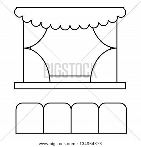 Theater auditorium icon in outline style on a white background