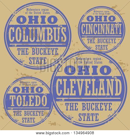 Grunge rubber stamp set with names of Ohio cities, vector illustration