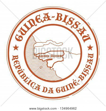 Grunge rubber stamp with the name and map of Guinea Bissau, vector illustration
