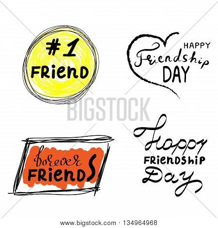 Hand drawn block quote speech bubbles in trendy grunge style. Speech bubbles with phrases forever friends happy friendship day friend. Vector illustration