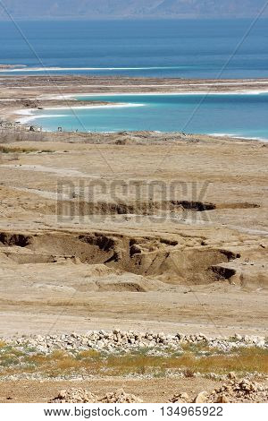 landscape of the Dead Sea, failures of the soil, illustrating an environmental catastrophe on the Dead Sea, Israel