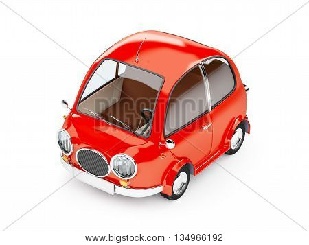 round small car in retro style isolated on a white background. 3d illustration.