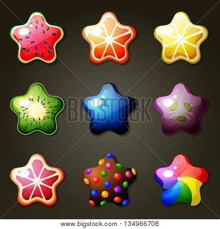 Set of fruit star candies for match three game