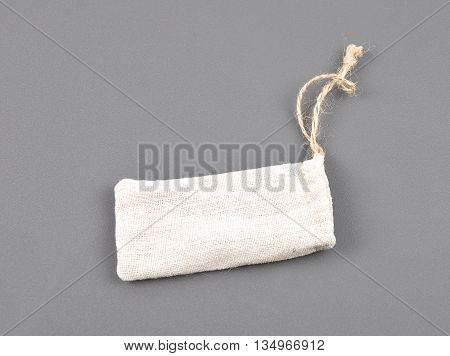 Linen Pouch On Gray Background