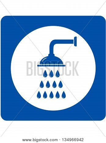 shower head sign with blue water droplets