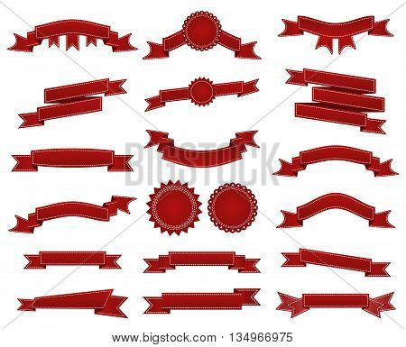 Embroidered Red Ribbons And Stumps Pack Isolated On White. Can Be Used For Banner, Award, Sale, Icon