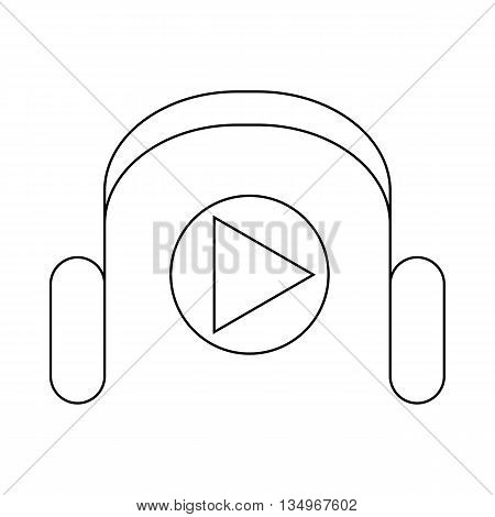 Headphones and media player icon in outline style on a white background