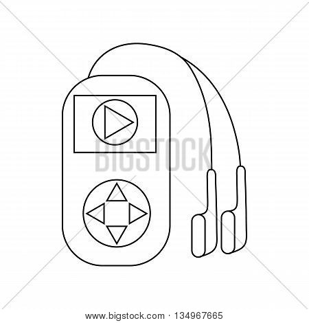 Mp3 player with headphones icon in outline style on a white background