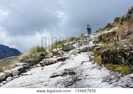 trekking in mountains Cordilera Blanca Peru South America
