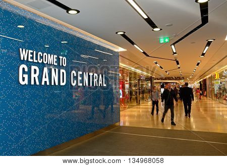 BIRMINGHAM, UNITED KINGDOM - JUNE 6, 2016 - Welcome sign at the entrance to Grand Central in New Street railway station Birmingham England UK Western Europe, June 6, 2016.
