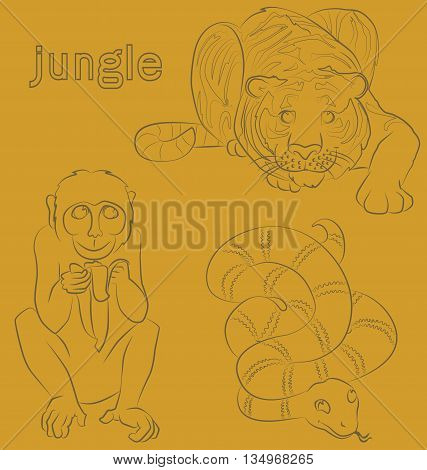 black and white image of a monkey, tiger and snake- suitable for a child's coloring, and not only. For your convenience, each significant element is in a separate layer.
