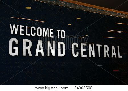Welcome sign at the entrance to Grand Central in New Street railway station Birmingham England UK Western Europe.