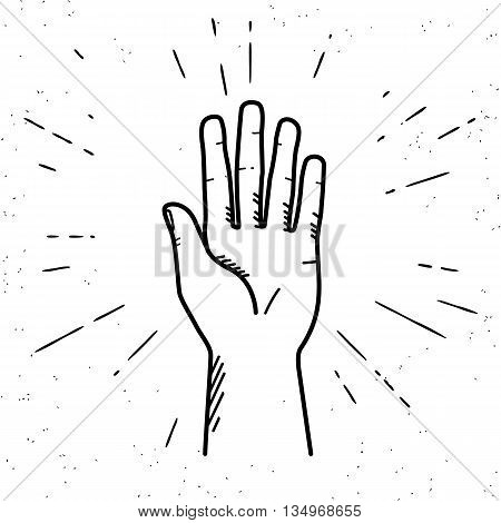 Human hand giving a high five for great work. Vintage illustration for icon in hipster style of high five fingers with sunburst rays engrave isolated on white background